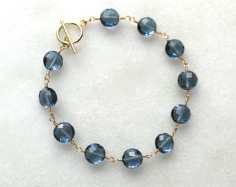 AAA London Blue Topaz Faceted Coin Linked Bracelet in Solid 14kg...