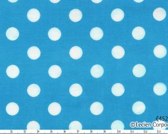 HALF YARD - Lecien - Color Basic - 4524-LL  White Large Polka Dots on Aqua Blue - Japanese Import Fabric