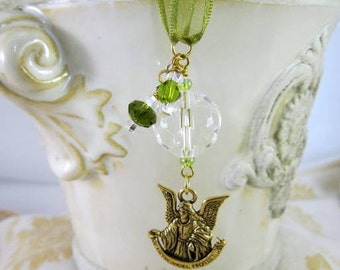 Rearview Mirror Jewelry Charm Car Feng Shui Guardian Angel Olive Green