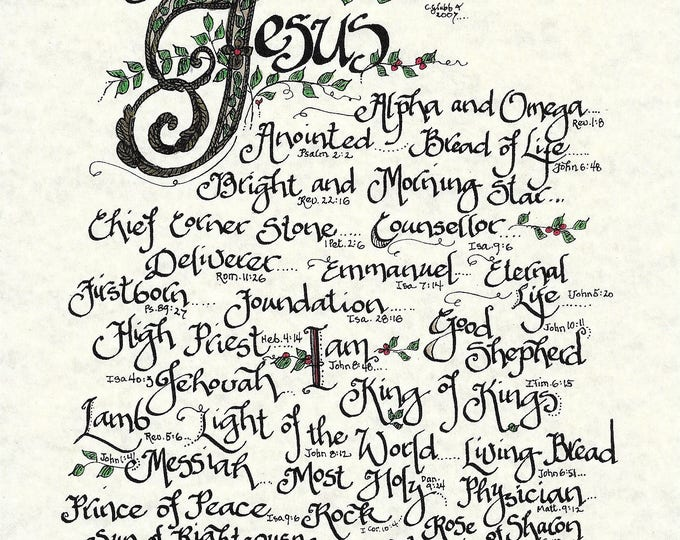 ON SALE*The Many Names of Jesus-Alpha & Omega,King of Kings-Color Print-Calligraphy Artwork By Cindy Grubb-Free Shipping-Matching Bookmark!