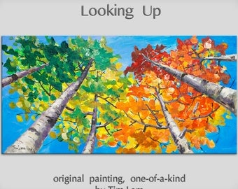 Tree painting Original Oil Painting Looking Up Forest art, huge mural Autumn Aspen Tree by Tim Lam 48x24x1.5