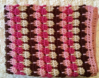 Crochet Afghan - Pink Magenta Brown Ivory Throw - Crochet Blanket