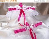 ON SALE Elegant Hot Pink and White Wedding Garter Set