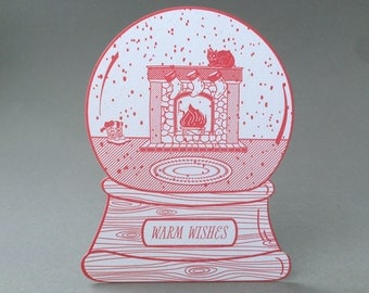 Warm wishes cat snow globe