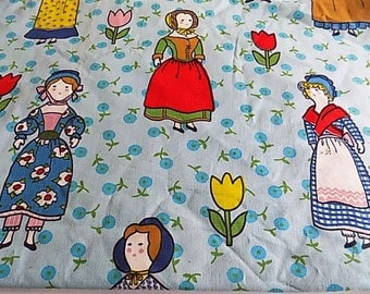 Vintage CottonLittle Women Lady Doll Fabric - 1.58 Yards