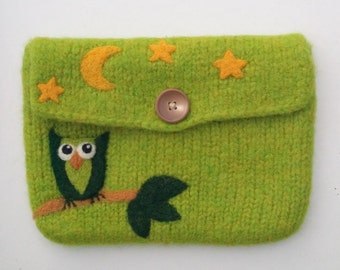 Felted bag pouch purse bag hand knit needle felted olive green wool needle felted owl moon stars