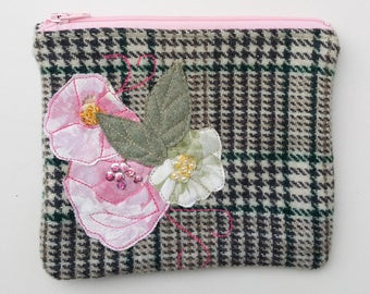 Zippered purse pouch purse light dark gray green tweed wool fabric with rawedge applique flowers