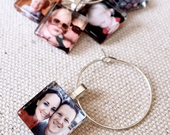 Custom Photo Wine Charm Party Favors l 15mm Squares l Custom or Personalized Image l Mothers Day, Sister, Best Friend, Bridesmaids, Grandma