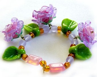 Handmade lampwork beads wedding bridal rose flowers necklace lavender pink