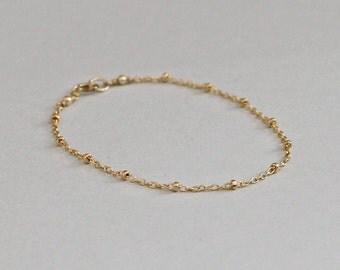 Gold Dotted Bracelet Satellite Chain 14K Gold Fill Bracelet, Tiny Dotted Chain, Minimal Jewelry Delicate Bracelet