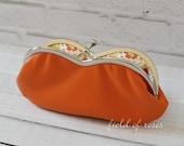 Leather Sunglasses Eyeglass Case Orange with Liberty of London Lining