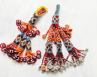 2 Vintage Kuchi Tribal Beaded Tassels. Bag Tassels, Door Decor, Belly Dance Costumes! #5