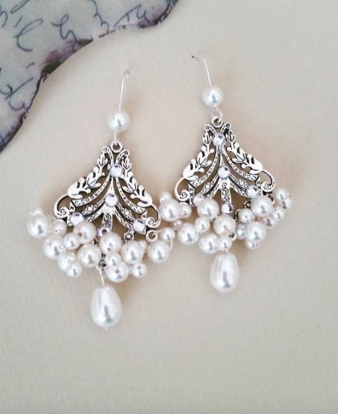 Pearl Chandelier Earrings Swarovski drop pearl