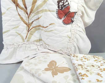 Vintage twin sheet set, twin bedding, brown butterfly print, 70s sheets, mix and match, butterfly sheets, beige, remixed twin sheets