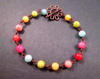 Flower Bracelet, Jade Gemstone Rainbow Bracelet, Copper Beaded Bracelet, FREE Shipping U.S.