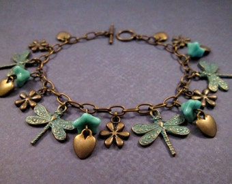 Dragonfly Charm Bracelet, Dragonfly Forest, Blue Green and Brass Beaded Bracelet, FREE Shipping U.S.