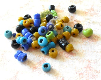 Antique African Glass Tube Trade Bead Mix - African Trade Beads, Brown Glass Tubes, Blue Glass Tubes, Black Glass Tubes, Green Glass