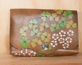Large Leather Clutch - Handmade in the Lucky Pattern with Shamrocks and flowers - Wristlet, Crossbody Purse or Waist Bag - Antique Black