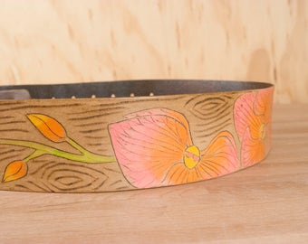 Guitar Strap - Handmade Leather Guitar Strap in coral, yellow and antique brown - Orchid and wood grain - Acoustic or Electric Guitars