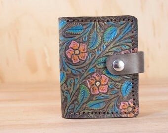 Small Coin Wallet - Limited Edition with Tooled Floral Pattern in Pink, Orange, Yellow, Turquoise, Green and Antique Brown - One of a Kind