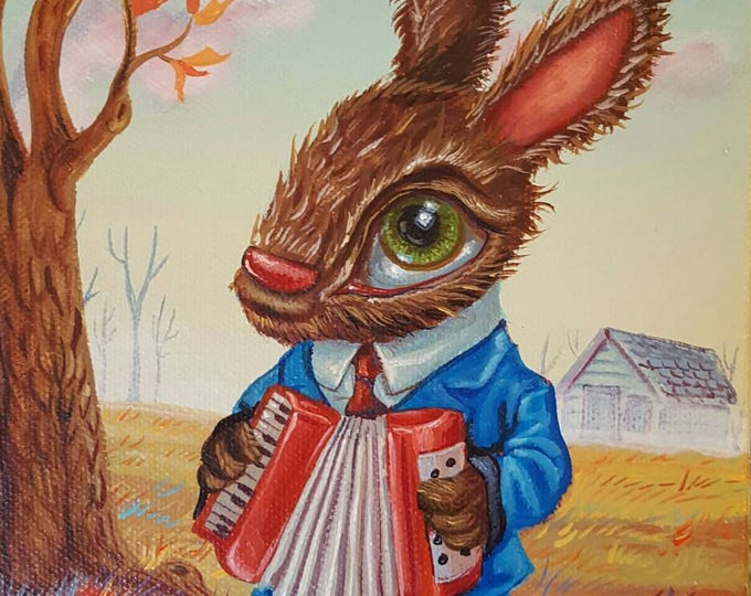 Accordion Bunny - Original painting by Mr Hooper of Nashville Tennessee