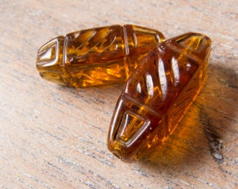 Antique Czech 1920s-30s Carved Amber Glass Foil Lined Linear Design Beads - Perfect Earring Pair