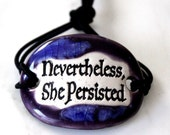 Nevertheless She Persisted Ceramic Bracelet in Purple