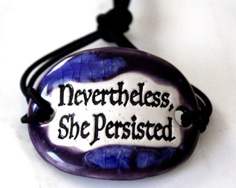 Nevertheless She Persisted Ceramic Bracelet in Purple