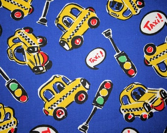 Taxi, Cars, traffic lights, children cotton fabric on royal blue last piece 44W x 43L SALE