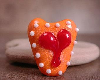Lampwork Glass Heart Focal Bead  Tropical Orange Divine Spark Designs SRA