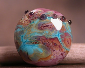 Lampwork Glass Focal Bead with Mosaic Shards  Divine Spark Designs SRA