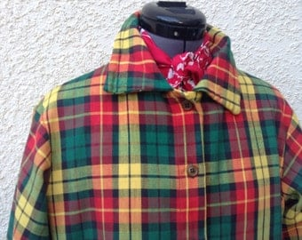 Vintage 60s Mod plaid woven jacket ~ retro ~ rockabilly ~ red yellow and green
