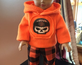 18 inch doll clothes fun MOTORCYCLE  THEME zippered hoodie and Buffalo plaid flannel bottom