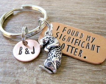 Personalized Otter keychain, I Found My Significant Otter, optional disc with initials, anniversary gift, engagement gift, wedding gift