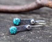 Rustic Turquoise Dangle Earrings ... blue turquoise petite dangle earrings bohemian jewelry rustic earrings turquoise dangles