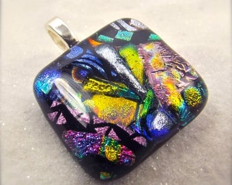 Statement jewelry, dichroic glass pendant, handmade jewelry, rainbow pendant, wedding gift, mod glass pendant, gift for her, fused glass