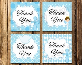 Printable First Communion Boy Angel Thank You Tags - Instant Download