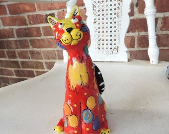 Ceramic Cat Sculpture Handmade by Dottie Dracos, Cat Art, cats, Sitting cat, One of a Kind, by Dottie Dracos 331171