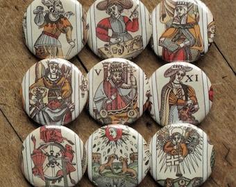 Tarot de Marseille - set of 3 pinback art buttons