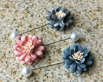 Pastel Flower Brooch Lapel Pin with Pearl or Silver Cap - Blue / Gray / Pink