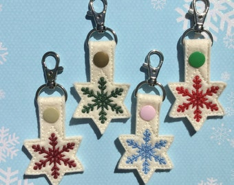 Snowflake Key Chain, Embroidered Key Fob