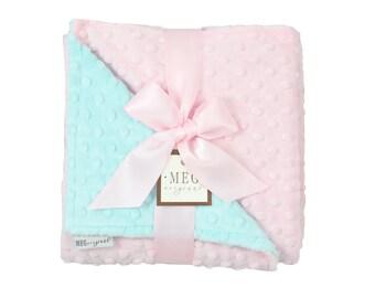 Baby Pink & Aqua Minky Dot Baby Girl Blanket 1682