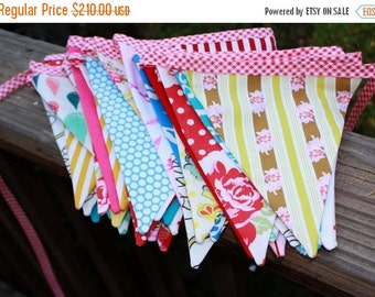 FLASH SALE 40 Percent Off 40 Feet of Carnival Bunting, Wedding Flag Banner Decoration in Shabby Chic Carnival Colors.
