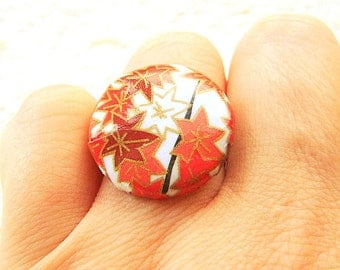 Japanese Ring -  Chiyogami Ring -  Japanese Paper Ring - Button Ring - Unique Ring - Autumn Leaves -  Adjustable Ring - Adjustable Band
