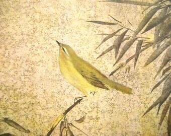 Vintage Japanese Print - Vintage Print - Bird Print - Flower Print - Vintage Magazine Insert - Magazine Cut Out - Japanese Bush Warbler