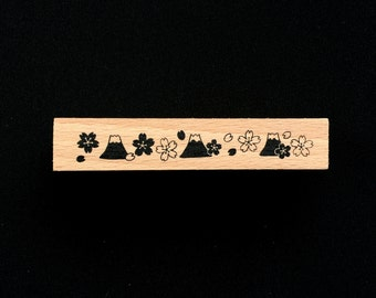 Cherry Blossom  Rubber Stamp -  Mount Fuji Rubber Stamp -  Traditional Japanese Rubber Stamp