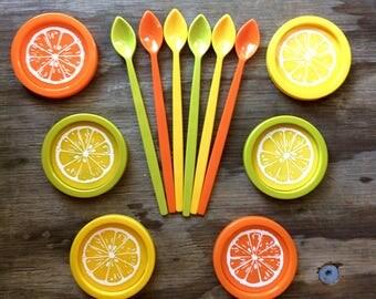 Vintage Citrus Coasters - Set of 6 - Iced Tea Set