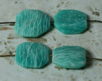Amazonite (natural) puff beads set of 4 (item ID SZ09-18)