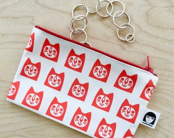 NEW cat fabric purse / make up bag by Jane Foster  - Scandi red cats