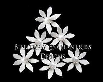 Bridal Hair Pins, Wedding Hair Pins, Pearl Hair Pins, Wedding Headpiece, Bridesmaid Bridal Hair Piece - 12 White Isla Mini Star Flowers